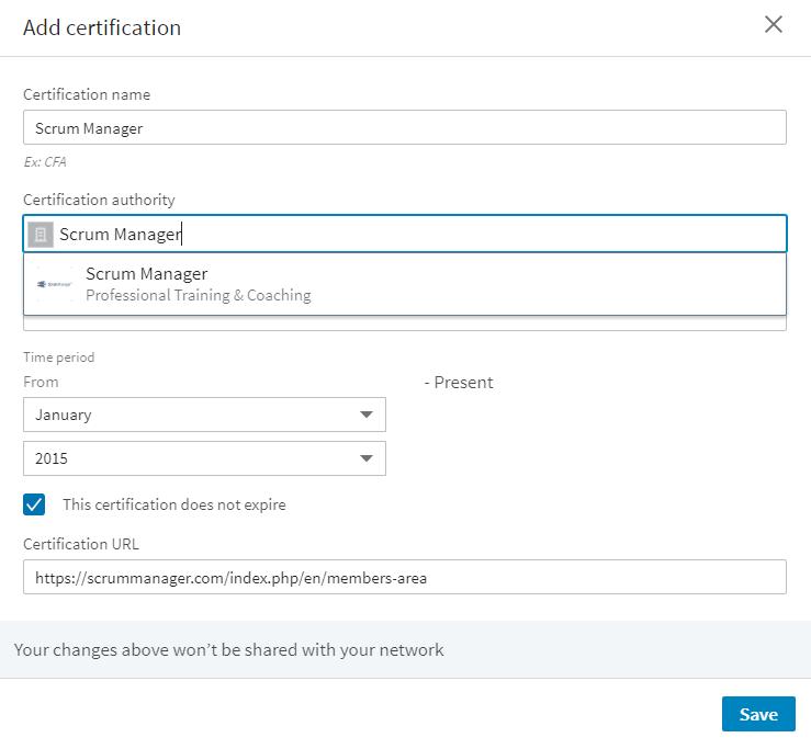 Certificate in LinkedIn